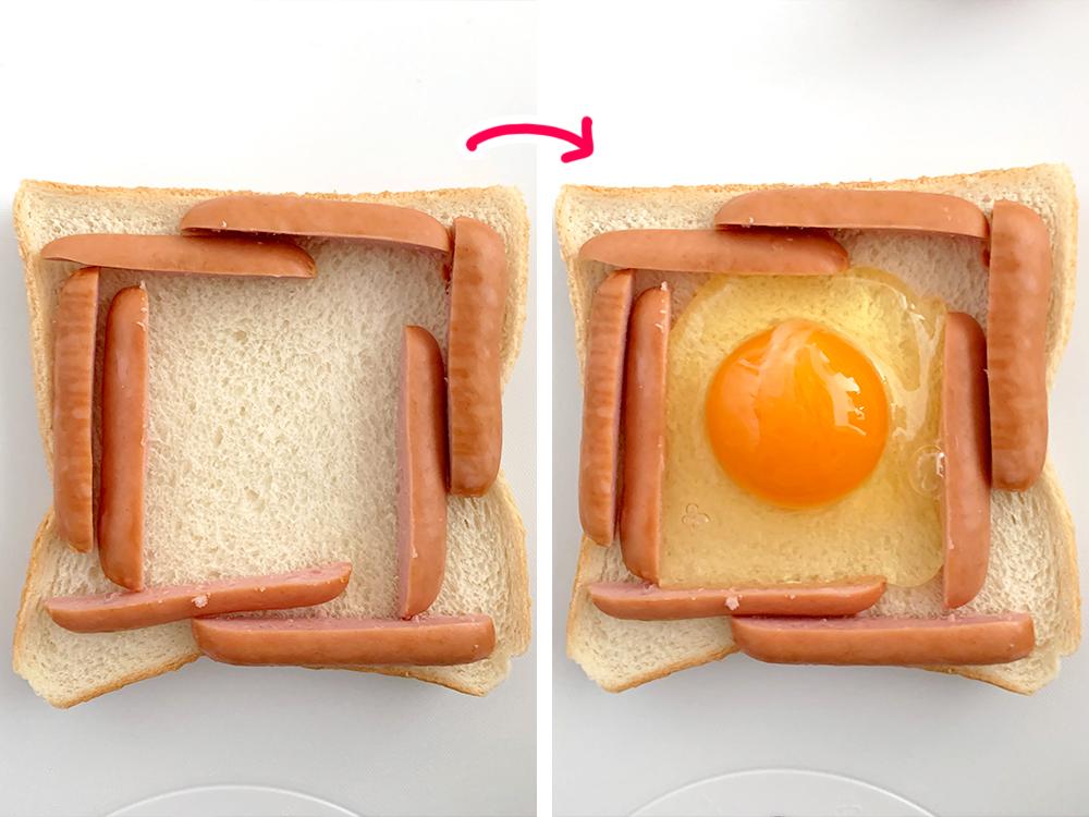 ずぼらモーニングトースト_ウインナーと目玉焼きの作りかた